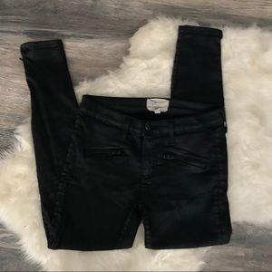 Current/Elliott Pants - Current/Elliot Black Coated Skinny Jeans